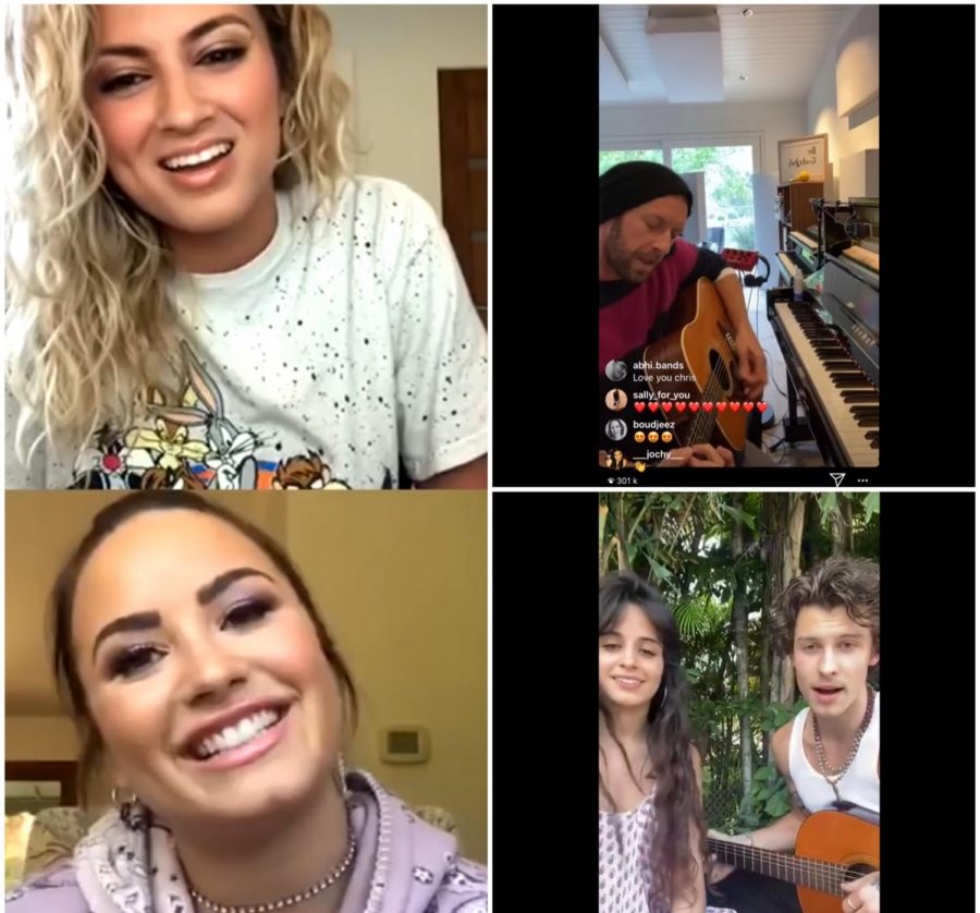 Left is Tori Kelly and Demi Lovato, top right is Chris Martin, and bottom right is Shawn Mendes and Camila Cabello. Photo by Ava Kopecky.