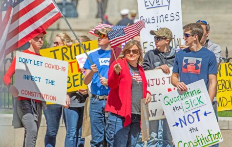 Picture taken at a rally in Ohio where people gathered to protest the coronavirus and social distancing regulations.