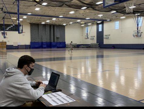 Gym teacher Joseph Urbanski teaching his remote class.