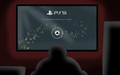 Person shown playing the new Playstation 5 console.