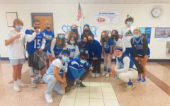 RB students pictured wearing crazy blue and white.